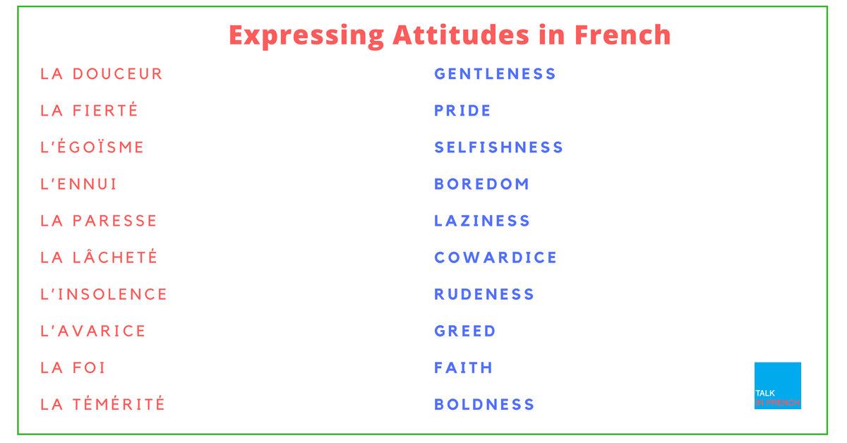 Express Attitudes In French