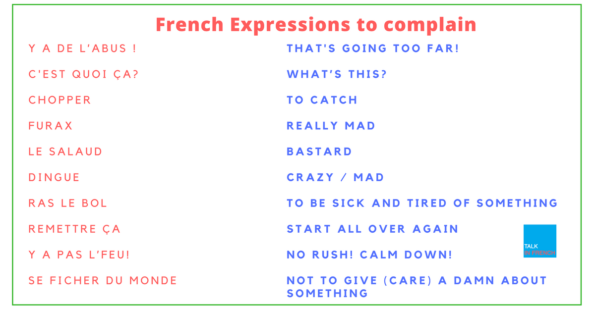expressions to use when complaining in french talk in french
