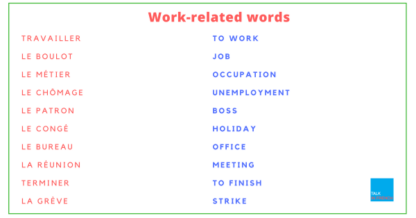 Work-related words french to english