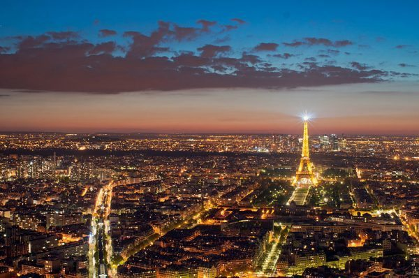 Paris Night view Eiffel Tower as seen from Montparnasse