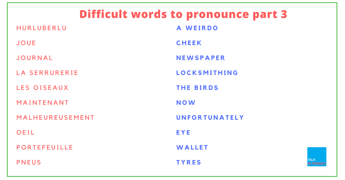 Difficult words to pronounce french to english