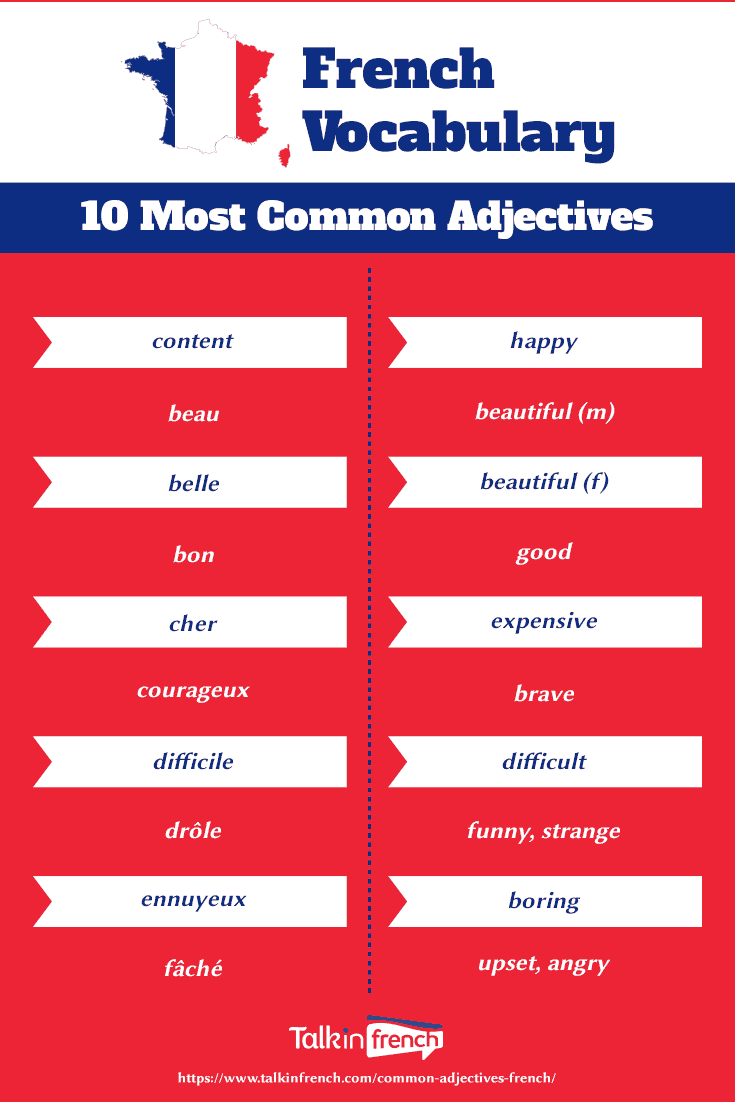 Most common French adjectives pinterest