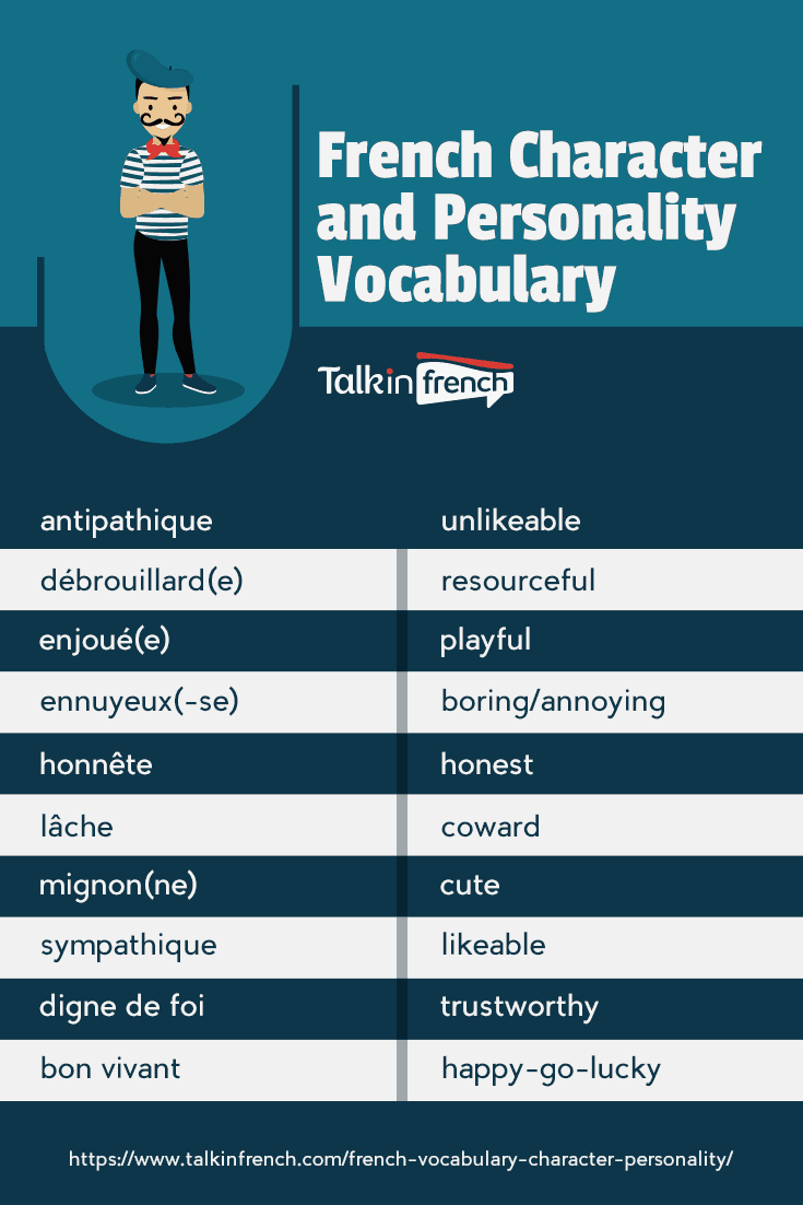 French character and personality vocabulary